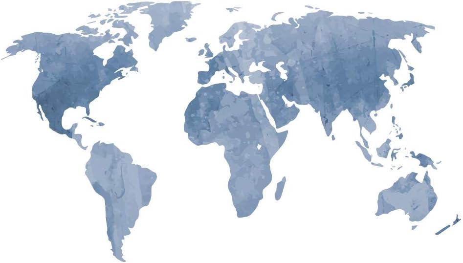 decalmile Mapa del Mundo Pegatinas de Pared Vinilos Decorativas Dormitorio Salón Oficina (Azul, 131 x 75 cm): Amazon.es: Hogar
