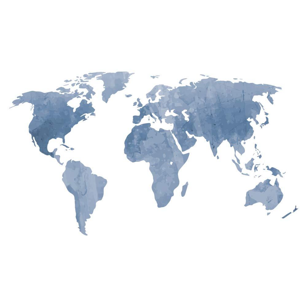 decalmile Mapa del Mundo Pegatinas de Pared Vinilos Decorativas Dormitorio Salón Oficina (Azul, 131