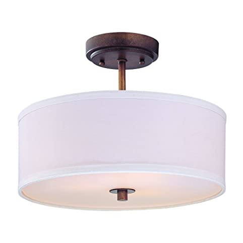 Semi flush light with white drum shade 14 inches wide semi semi flush light with white drum shade 14 inches wide aloadofball Gallery