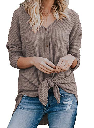 MIHOLL Womens Loose Blouse Long Sleeve V Neck