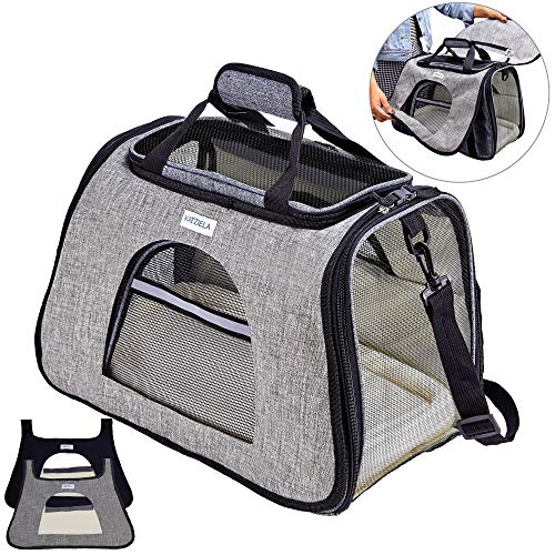 Katziela Pet Carrier with Replaceable Skin Covers – Soft Sided, Airline Approved Carrying Bag for Small Dogs and Cats, Front, Side and Top Mesh Windows, Storage Pocket and Safety Leash Hook