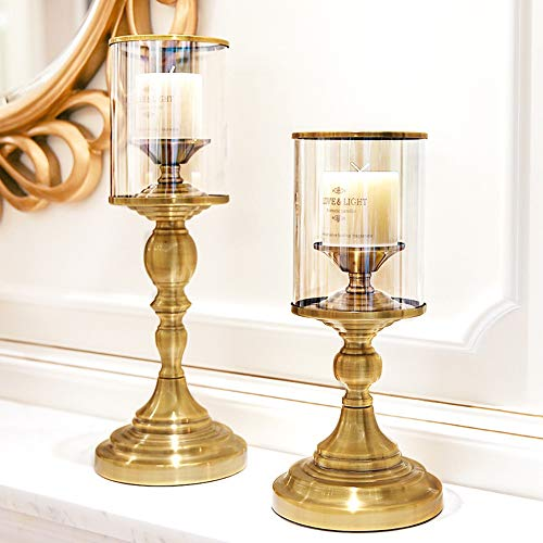 KAAK Candlestick/Vintage Jewelry Table/Glass Candlestick/Western Candlelight Dinner Decoration/Furniture Sets Home (Color : Gold, Size : S) (Set Furniture Dining Hom)