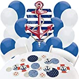 Big Dot of Happiness Ahoy - Nautical - Confetti and Balloon Party Decorations - Combo Kit