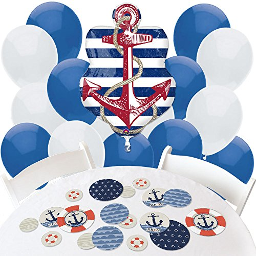 Ahoy   Nautical   Confetti And Balloon Party Decorations   Combo Kit