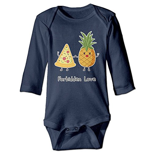 Price comparison product image Pineapple Pizza Forbidden Love Printed Toddler Baby Girls Long-Sleeved Bodysuit Jumpsuit Outfits