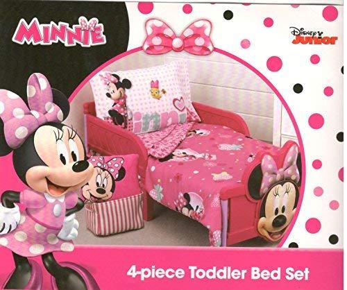 Disney Minnie Mouse Smart & Sweet 4-Piece Toddler Bedding Set - New, Standard crib Mattress