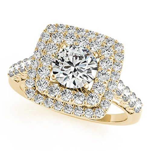 (Square Double Diamond Halo Engagement Ring 18k Yellow Gold (2.63ct))