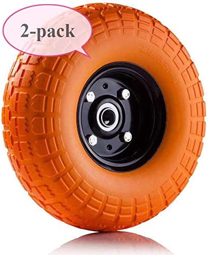 """AFT PRO USA 2-Pack 10"""" Flat Free Tires Air Less Tires Wheels with 5/8"""" Center - Solid Tire Wheel for Dolly Hand Truck Cart/All Purpose Utility Tire on Wheel (Orange)"""