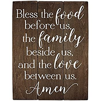 Elegant Signs Bless The Food Before Us Sign Wood Sign Kitchen Wall Decor  Wood Kitchen Sign