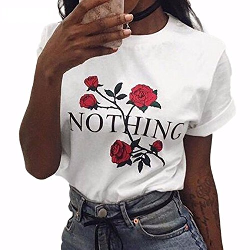 BLACKMYTH Women Summer NOTHING Rose Print Short Sleeve Top Tee Graphic Cute T-shirt White Small