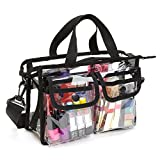 Enkrio Clear Bag Cosmetic Storage Bag NFL Stadium Security Approved Shoulder Bag Makeup Tote Bag with Strap & Zippered Top Sturdy EVA Construction