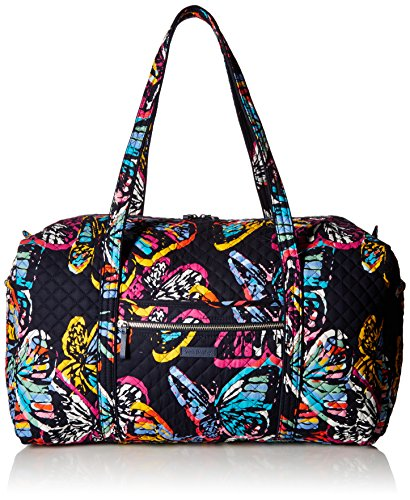Vera Bradley Iconic Large Travel Duffel, Signature Cotton, Butterfly Flutter, butterfly flutter, One - Top Butterfly Handbag Zip