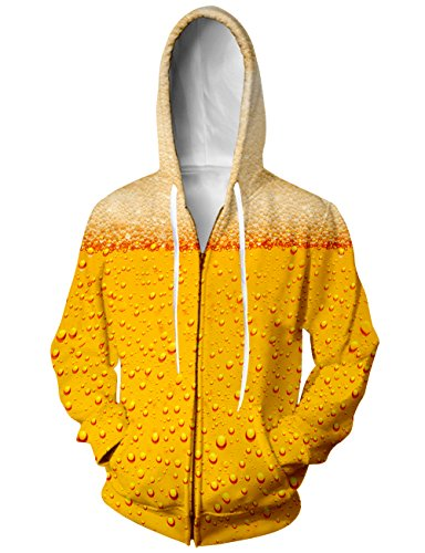 - RAISEVERN Unisex Realistic 3D Beer Yellow Patterns Print Hip Hop Pullover Zipper Hooded Hoodie XX-Large