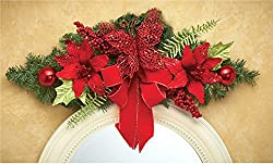 Red Glitter Butterfly Poinsettias Flowers Bow Swag Wreath Berries Ornaments Holiday Hangs Over Doorway Entrance Window Mirror Decor Door Wall Hanging Christmas Home Accent Decoration