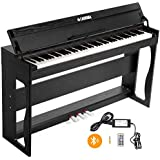 LAGRIMA 88-Key Weighted Action Digital Piano with Bluetooth Function, Bundle w/Remote Control, Power Adapter, 3-Pedals and Instruction Book, Built-in Speakers, Headphone/Midi/USB Output Feature