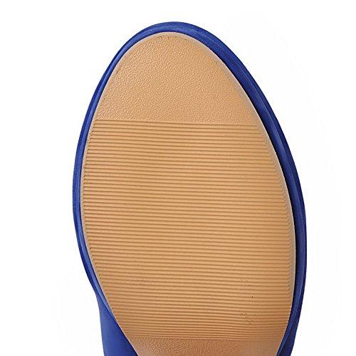 Voguezone009 Puro Punta Tonda Ballet Donna Alto Trafilatura Azzurro flats Tacco Fibbia 4pqaF4