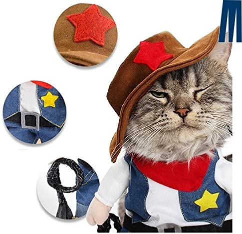 Mikayoo Pet Dog Cat Halloween Costumes,The Cowboy for Party Christmas Special Events Costume,West Cowboy Uniform with Hat,Funny Pet Cowboy Outfit Clothing for Dog cat 35