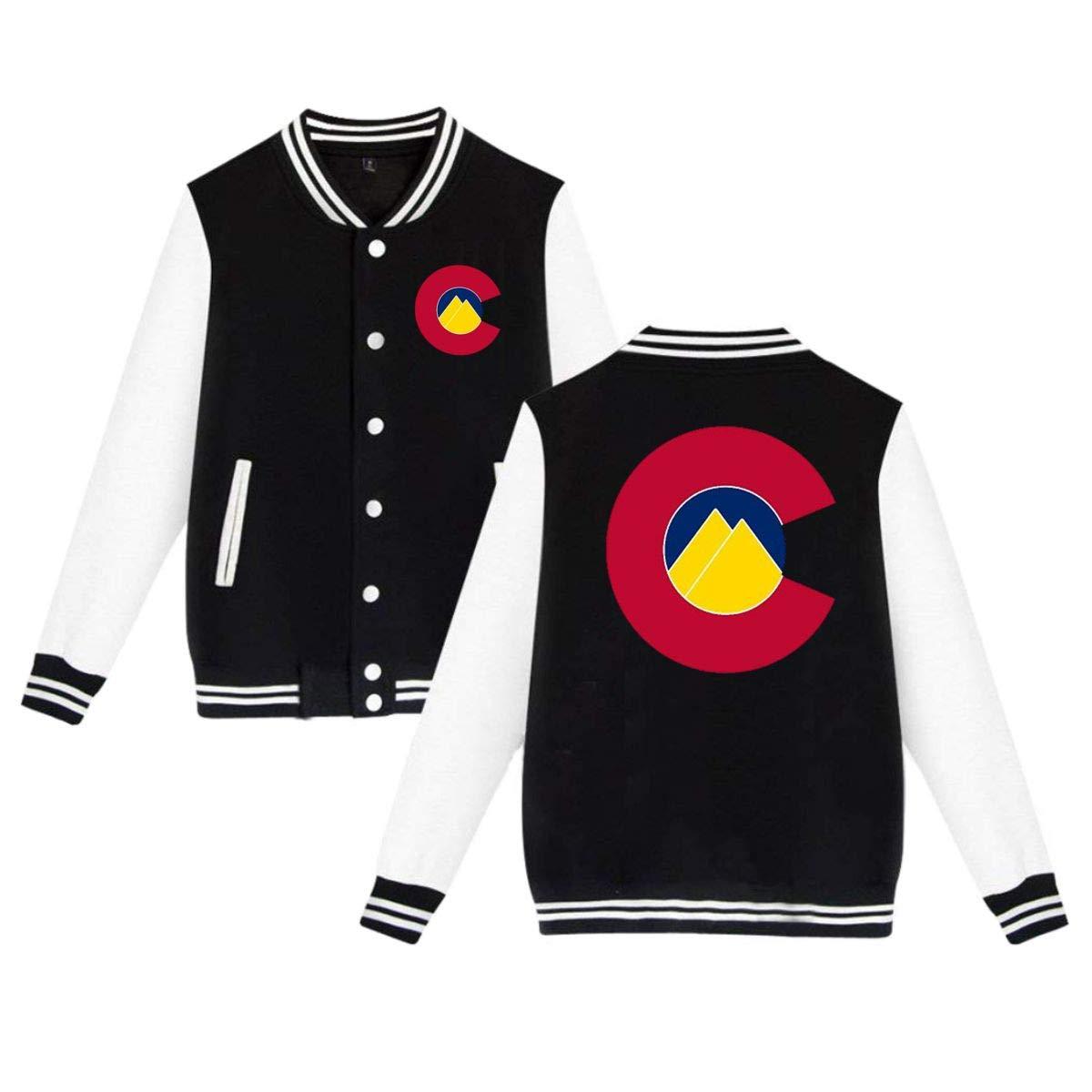 MEILOP Unisex Colorado State Mountain Flag Baseball Jacket Uniform Sweater Coat
