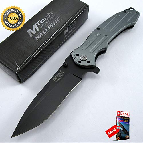 SPRING ASSISTED FOLDING POCKET Sharp KNIFE Mtech Black Blade Silver Handle EDC Tactical Combat Tactical Knife + eBOOK by Moon Knives