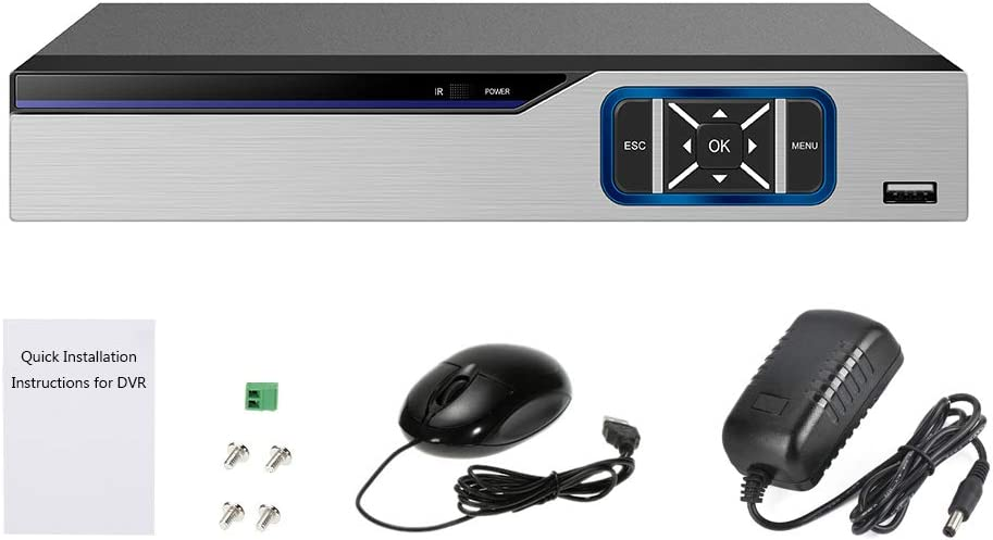 OWSOO 4CH 1080P Grabadora de Vídeo Ddigital DVR, Amplia Compatibilidad, Hybrid AHD/ONVIF IP/Analog/TVI/CVI/DVR CCTV, Soporta P2P, Alarma de Detección de Movimiento, Android/iOS, Plug y Play