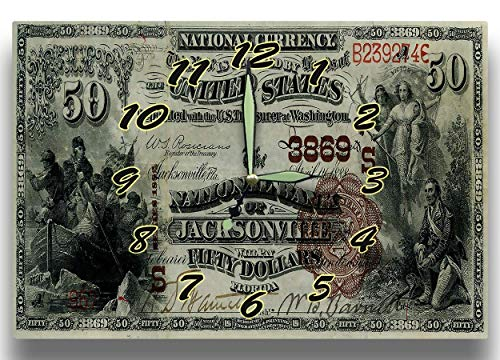 National Banknotes (Customized Barnett Bank Jacksonville FL Money Clock United States National Bank Currency Series 1882 50 Dollar Bill Banknote 8 x 12 inch Wall Clock)