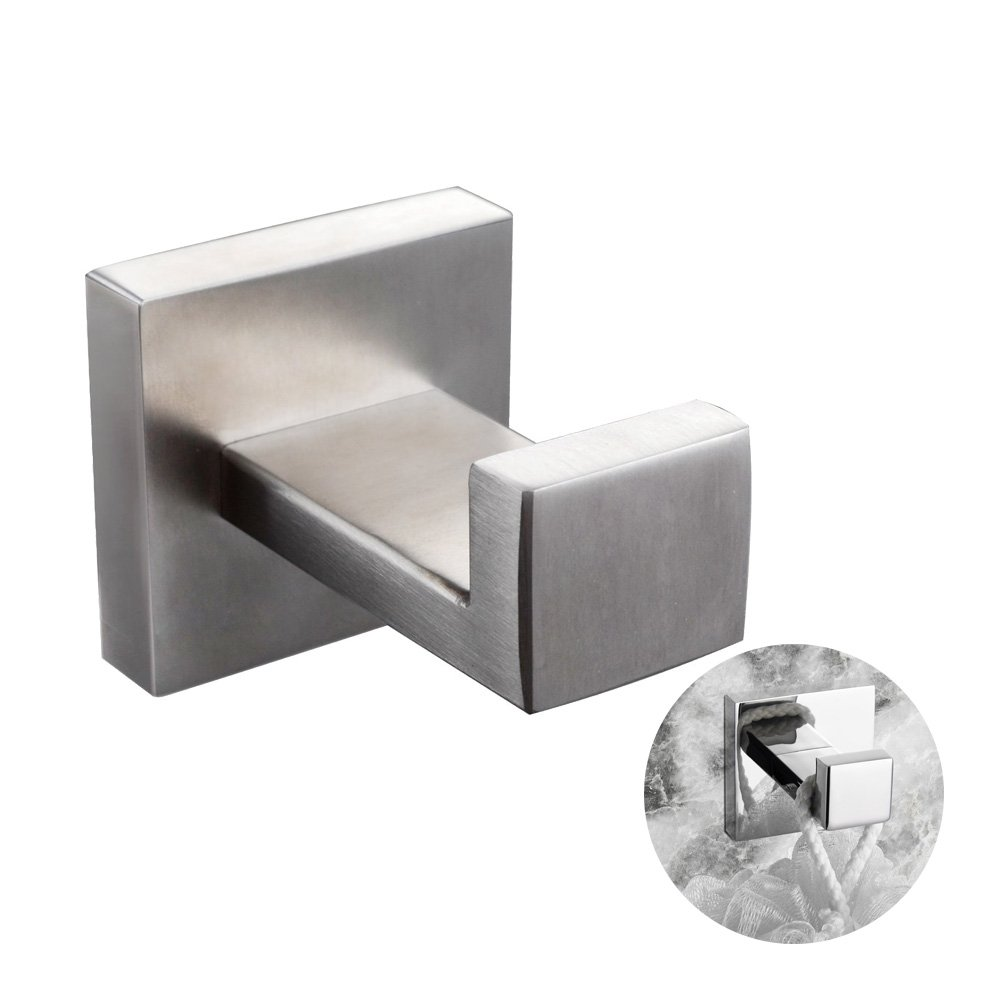BigBig Home Square Classic Series SUS 304 Stainless Steel Clothes Hook Towel Hook Hanging Hooks Robe Hook, Contemporary Style Brushed Nickel Finish Wall Mounted Coat Hook Bathroom Accessories