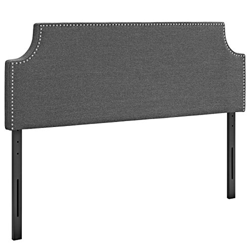Modway Laura Linen Fabric Upholstered Full Size Headboard with Cut-Out Edges and Nailhead Trim in Gray