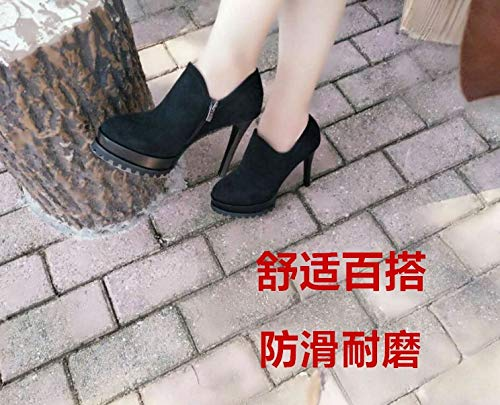 High 12Cm Frosted Green KPHY Women'S Mouthpiece Shoes Thirty Four Single Heels Shoes Table Side Mosaic Suede Zipper Deep In Thick Sole Autumn Waterproof qtFqwB0E