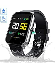 Zagzog Fitness Tracker Smart Watch 7 Sports Modes Bluetooth Waterproof Kids Sports Watch with Message Remind Heart Rate Blood Oxygen Pressure Monitor iOS Android Watches for Men Women Boys Girls-Black