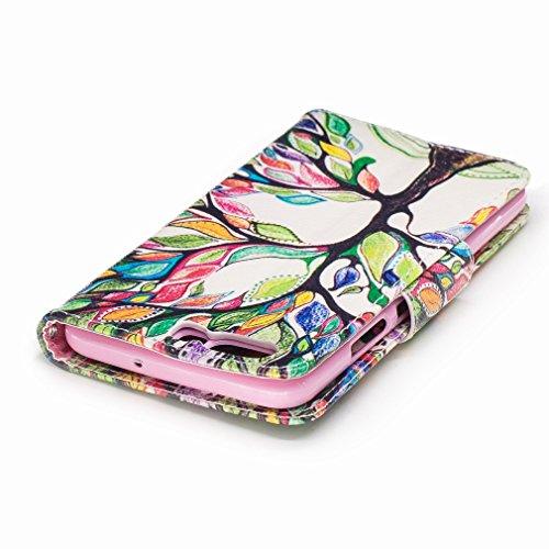 Yiizy Huawei P10 Custodia Cover, Alberi Colorati Design Sottile Flip Portafoglio PU Pelle Cuoio Copertura Shell Case Slot Schede Cavalletto Stile Libro Bumper Protettivo Borsa