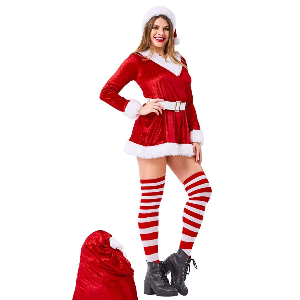 Opeer Red Women Santa Dress Costume Suit Christmas Party Cosplay Novelty Long Sleeve V Neck Stage Dancer Mini Dress (Red, L)