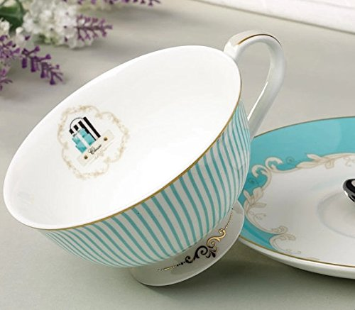 Jusalpha Vintage Blue Bone China Teacup Coffee Cup Spoon and Saucer Set