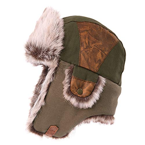 Mens Womens Patchwork Faux Fur Hunting Mad Bomber Trapper Flaps Winter Cap Ushanka Russian Hat Army Green for $<!--$23.98-->