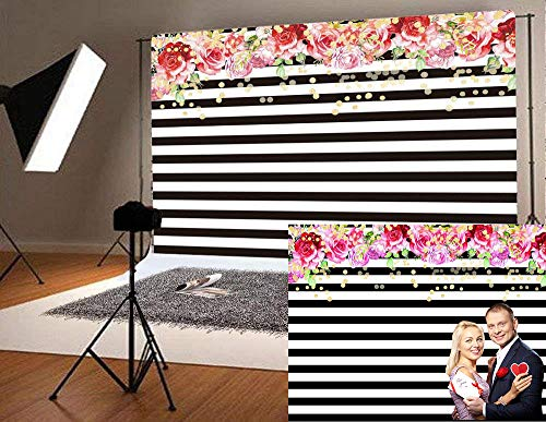 (Qian Photography Backdrops Black and White Stripe Background Pink Rose Flower Birthday Party Wedding Photo Studio Booth 9x6FT)
