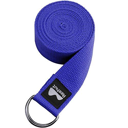 REEHUT Correa para Yoga (1.8m, 2.4m, 3m) - Cinturón con Hebilla Metal D-Anillos de Poliéster Algodón Resistente para Ejercicios de Estiramiento, Fitness, Pilates y Flexibilidad a buen precio