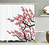 Ambesonne Asian Decor Collection, Plum Tree Blossoms Japanese Spring Traditional Festival Seasonal Celebration Image, Polyester Fabric Bathroom Shower Curtain, 75 Inches Long, Coral Black White
