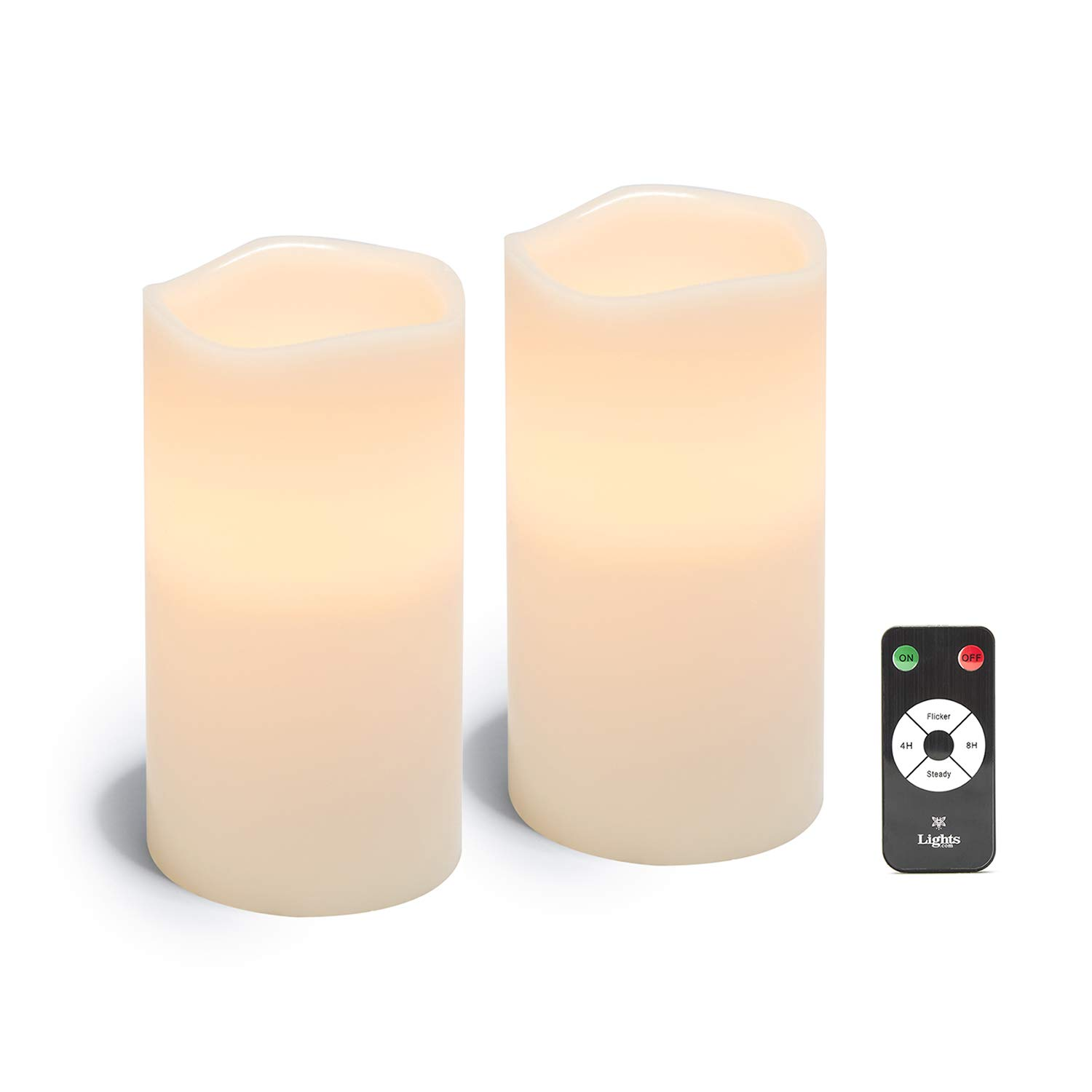 Large Flameless Pillar Candles - Set of 2 White Wax Candle Set, 4 x 8 Inches, Melted Edge, Warm White LED Light - Batteries & Remote Included