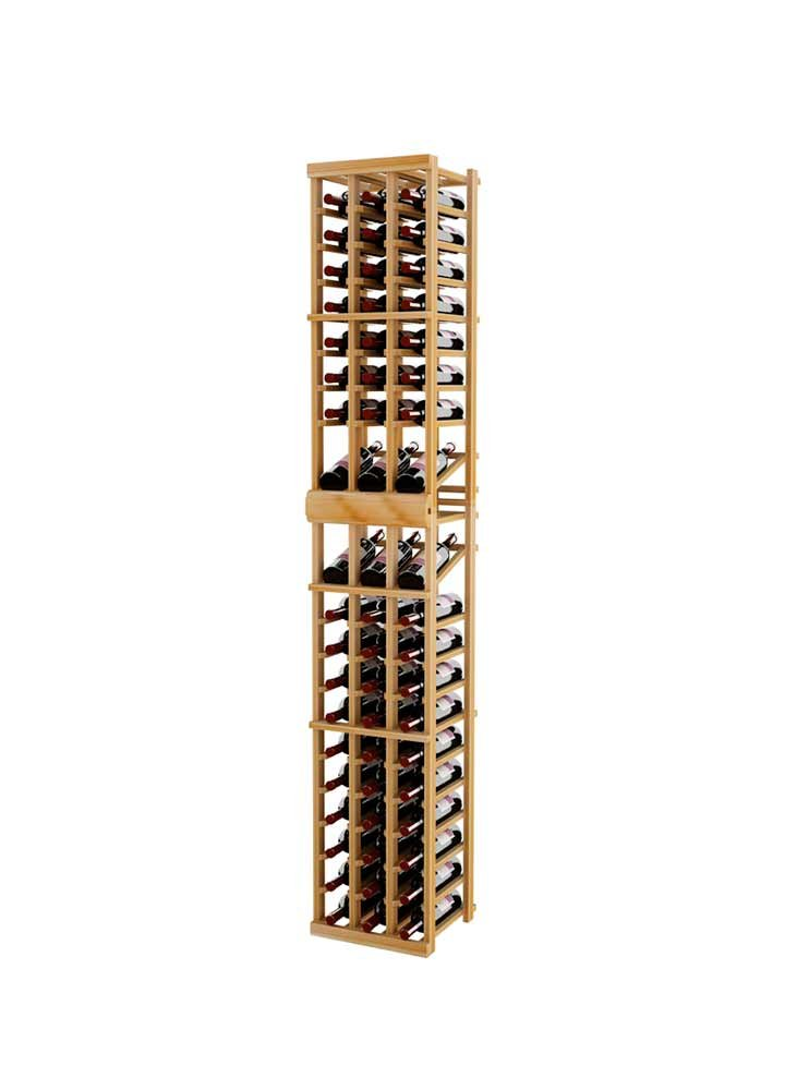 Vintner Series Wine Rack - 3 Column with Double Display - 7 Ft - Premium Redwood with Unstained