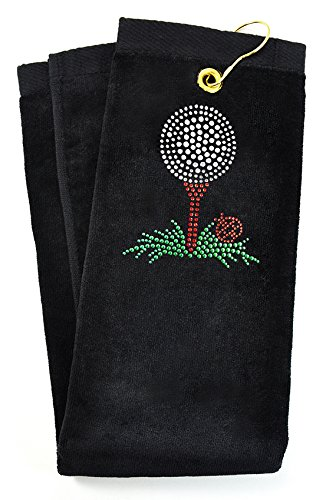 Navika Crystal Embellished Golf Tee Black Golf Towel