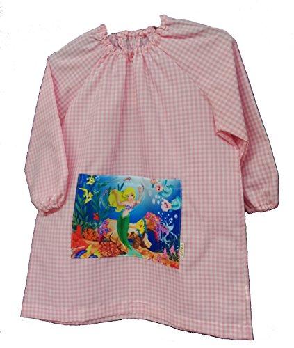 Bata guardería talla 2 color rosa vichy con goma en el cuello y bolsillo con sirena: Amazon.es: Ropa y accesorios