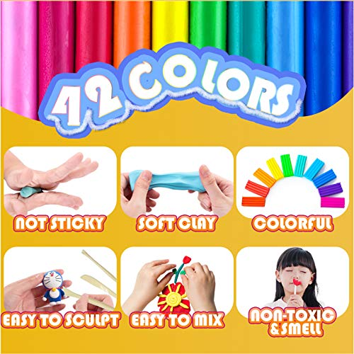 Polymer Clay-Oven Bake Clay for Kids-42 Block Polymer Clay Kits with 25 Pcs Clay Cutters,5Pcs Clay Tools ,66 Pcs Polymer Clay Jewelry Making Supplies,Colorful DIY Modeling Clay for Kids Girl & Boy