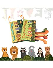 tumama Soft Books for Babies,Animal Tail Cloth Books for Toddlers,Interactive Toys Pack of 2