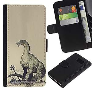 For Samsung Galaxy S6 Case , Monster Kraken Destruction - la tarjeta de Crédito Slots PU Funda de cuero Monedero caso cubierta de piel