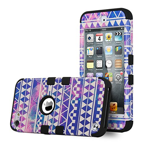 iPod touch 6 Case,iPod touch 5 Case ,ULAK [Colorful Series] 3 in 1 Anti-slip iPod Touch Case Hard PC+Soft Silicone Hybrid Dust Scratch Shock Resistance Cover for iPod touch 5 6th Gen(Reverie/Black) - Ipod 5 Colorful Cases For Girls