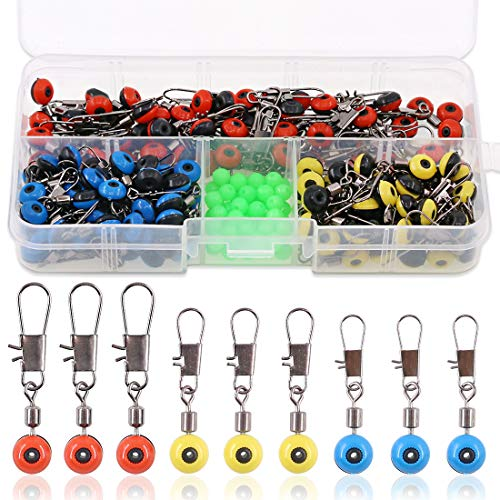 Hilitchi 200 Pcs 3 Sizes Stainless Steel Fishing Line Sinker Slide with Glowing Fishing Beads, Large/Medium/Small Sizes High Strength Hook Shank Clip Connector Fishing Ball Bearing Swivel Connector