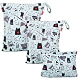 Damero 3Pcs Cute Travel Baby Wet and Dry Cloth Diaper Organizer Bag (Cats)