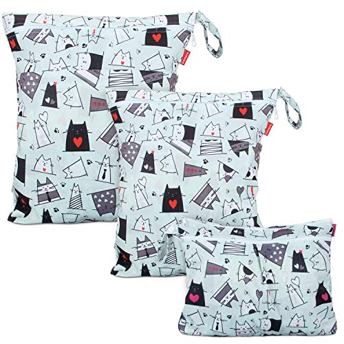 Bag with 2 Zippered Pockets and Snap Handle for Cloth Diaper, Swimsuit, Clothes, Ideal for Travel, Exercise, Daycare, Roomy and Water-Resistant (Cats) ()