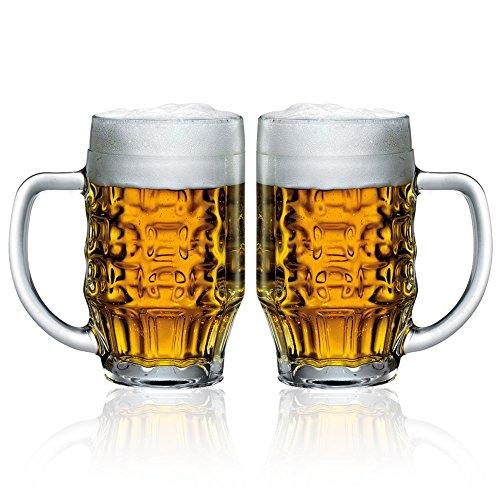 Bormioli Rocco 600Ml Beer Glass Stein Tankard Glasses Dimpled Ale Mug 0.5L Lined -Set Of 6