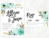 Mint and Gold Wedding Invitation, Watercolor Mint Invitation, Gold Watercolor Floral Invitaiton
