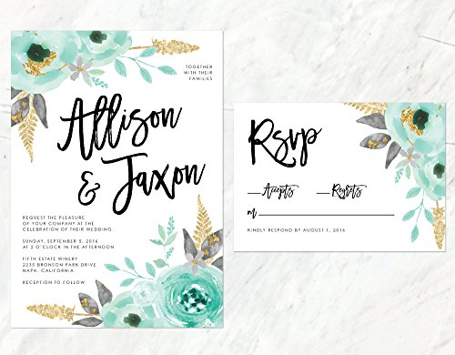Mint and Gold Wedding Invitation, Watercolor Mint Invitation, Gold Watercolor Floral Invitaiton by Alexa Nelson Prints